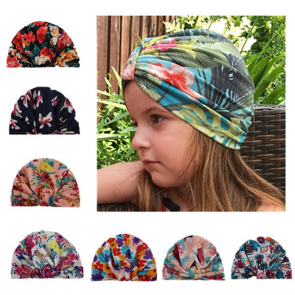 Bebek Kız Bohemia Beanie Bebek Kız çiçek baskı türban Caps İlkbahar Yaz şapkalar 7 Renkler seçin için