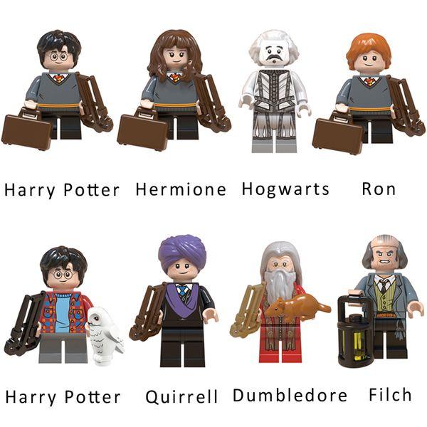 Harry Potter Hermine Granger Ron Weasley Dumbledore Filch Hogwarts Quirrells Mini Action-Figur Modell Baustein-Ziegelstein-Spielzeug für Kinder