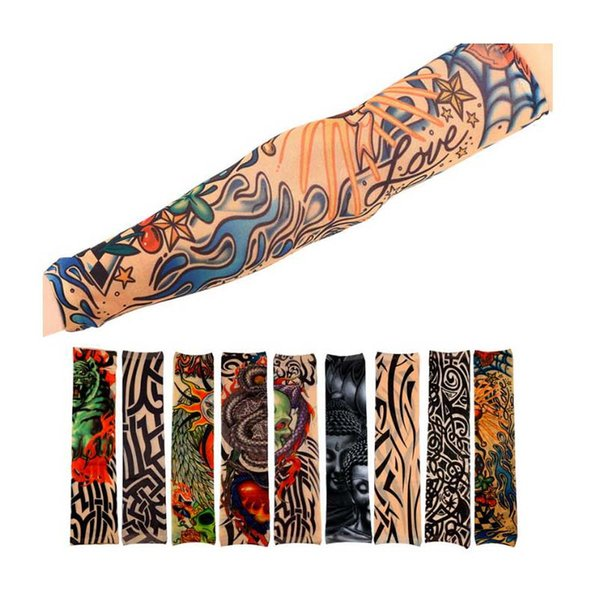 Nylon Elastic Fake Temporary Tattoo Sleeve Outdoor Arm Sleeve Sunscreen Fishing Driving Tattoo Arm Stockings Elastic Sleeve with opp pag 2pc