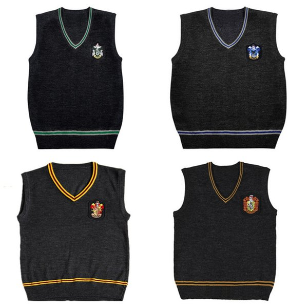 Harry Potter Sweater Vest V-neck Magic School Waistcoat Slytherin Gryffindor Ravenclaw Cosplay Costume Sweaters Men Women Uniform Sweater