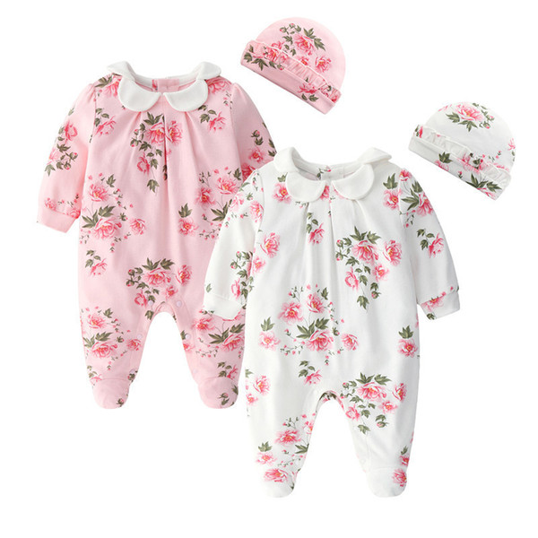 Floral Printing Newborn Baby Girl Clothes Peter Pan Collar Jumpsuits & Hats Clothing Sets 2019 Princess Girls Footies Body Suits J190525