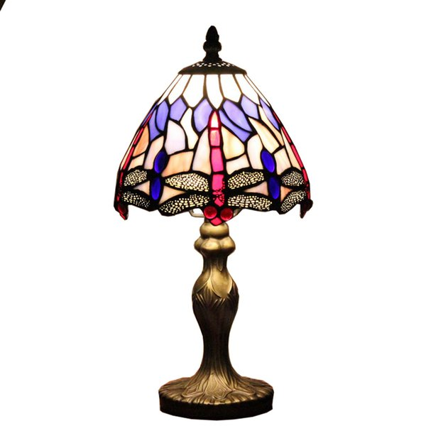 7 inch Small Desk Lamp dragonfly tiffany Style Table Lamp Lighting Stained Glass child Bedside Lamp