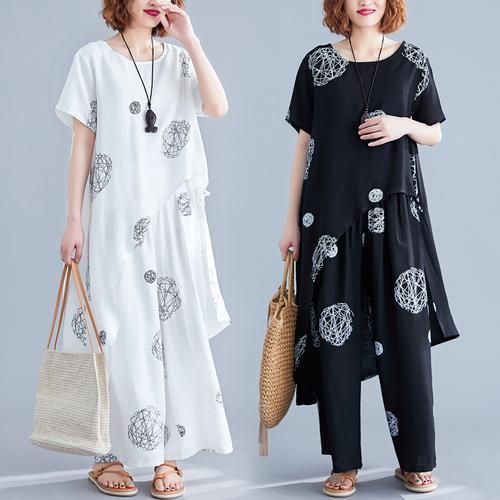 Retro Large Size Two Piece Set Summer Costume Clothes For Women Floral Print Irregular Ensemble Femme Survetement Woman Suit