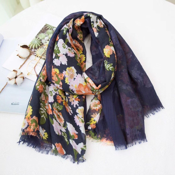 2018 Newest Women Floral Pattern Scarf Double Layers Cotton Frayed Scarf Infinity 10PCS/LOT
