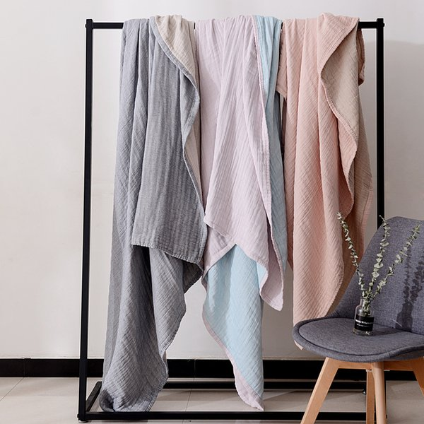 100% Cotton Muslin Blanket Bed Sofa Travel Breathable Simple Japanese Style Solid Large Soft Throw Blanket Blanket