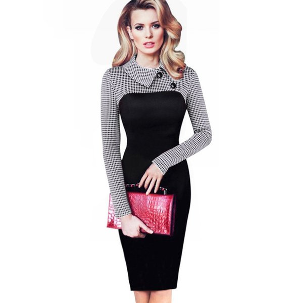 Элегантное винтажное зимнее платье с пуговицами и пуговицами с отложным воротником бизнес платье-футляр с карандашом B238