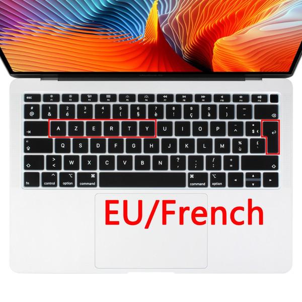 Euro Français AZERTY Clavier souple en silicone Protecteur peau pour la nouvelle 2018 A1932 mac book 13,3 Touch ID