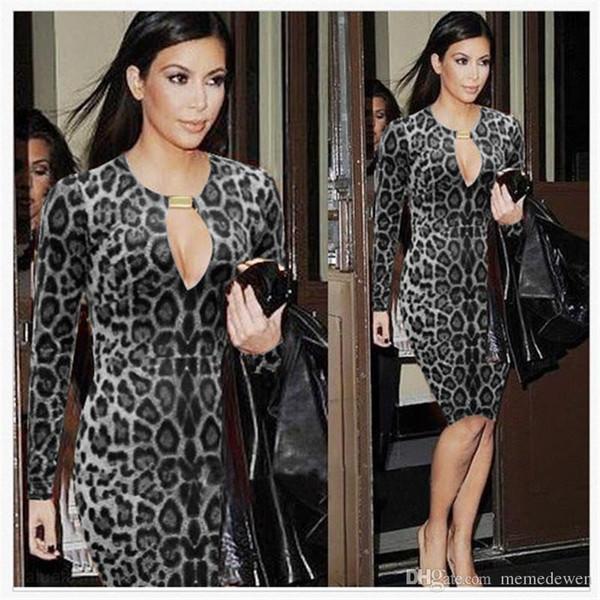 Nueva moda 2017 para mujer kim kardashian leopardo impreso elegante bodycon atractivo del contraste del remiendo que adelgaza el vestido de fiesta ocasional pf-012