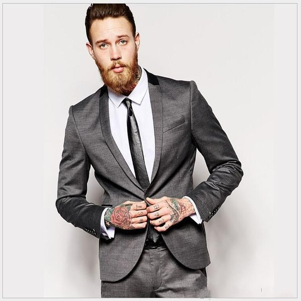 Classic Style Back Vent One Button Gray Groom Tuxedos Shawl Lapel Men Suits Wedding/Prom/Dinner Best Man Blazer (Jacket+Pants+Tie) W287