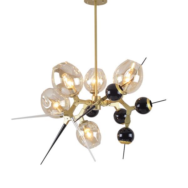 Bolas de vidro lustre Personalidade Sala de Jantar Sala de Lustres de Ouro Quarto Moderno levou Luzes de Vidro Criativo