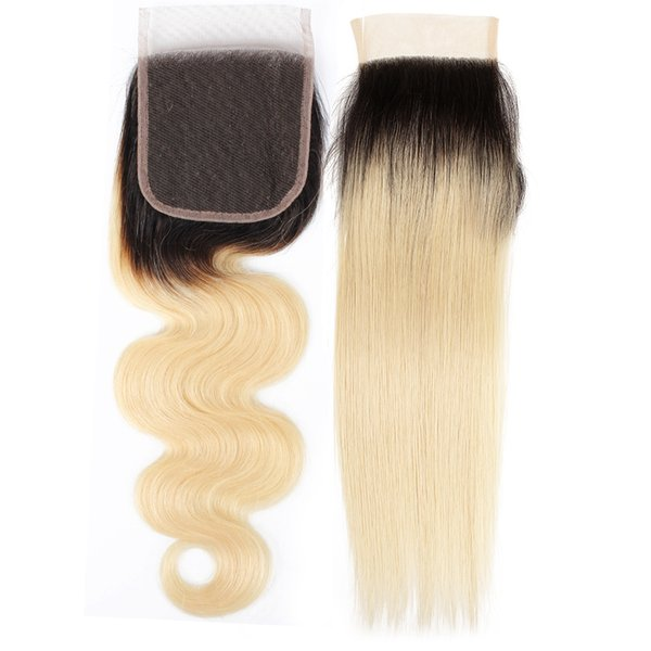 4x4 Lace Closure Straight Body Wave Ombre Color 1B 613 Blonde Extensions Brazilian Human Hair Free Part Middle Part Closure 10-20 inch