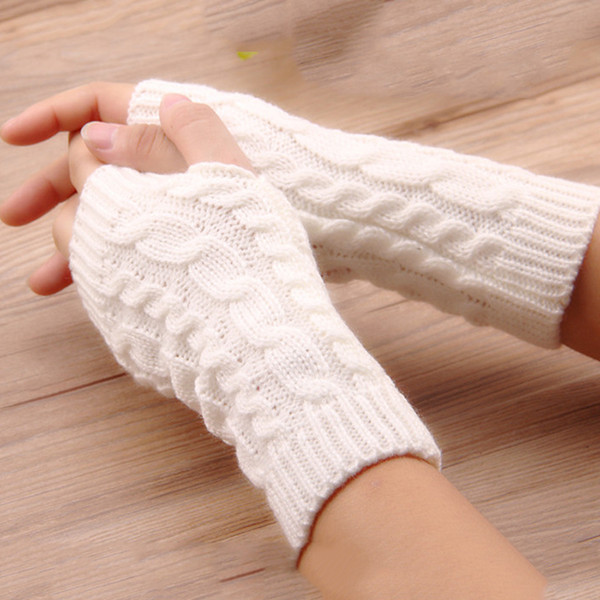 Frauen stilvolle handwärmer winter handschuhe arm häkeln stricken faux wolle handschuh warme fingerlose handschuh femme