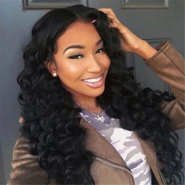 Parrucche dei capelli umani anteriori del merletto dell'onda profonda di alta qualità per le donne nere Parrucche dei capelli remy brasiliane di densità 150% pre colte con i capelli del bambino