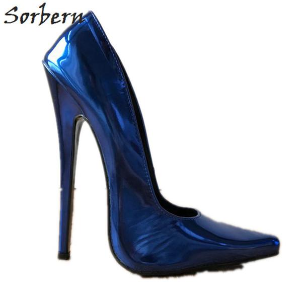 Sorbern zapatos azules tacones altos bomba mujeres diseñador de la marca stilettos deslizarse en punta puntiaguda color personalizado metálico night club dance