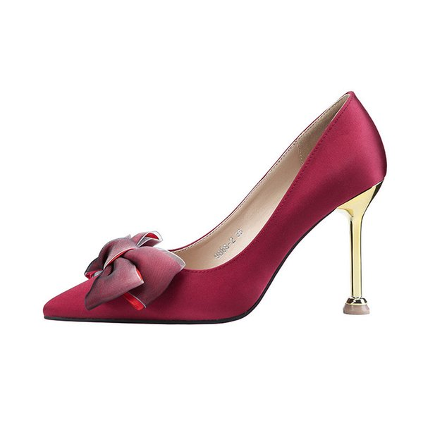 2019 printemps et en automne nouveau sexy a souligné l'arc stiletto sexy était mince professionnel ol chaussures de femmes vin rouge 0510