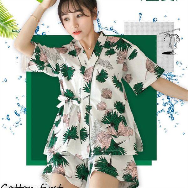 kimono Pajamas Set Women Summer Mom Sexy Cotton Pyjamas 2Piece/Set Long Robe Big Size Home Sleepwear 2019 Fashion Clothes