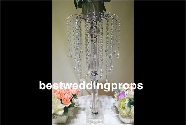 New Crystal Candle Holder, Metal Silve Wedding Centerpiece, Candlestick, Candelabra, Free Ship, Wedding Christmas Home Decoration best0591