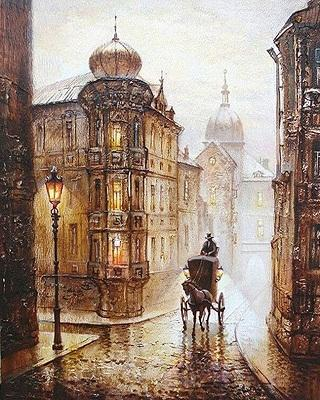 High Quality Hand-painted & HD Print Beautiful City Europe Street Landscape Art oil painting On Canvas Wall Art Home Deco Multi Sizes l222