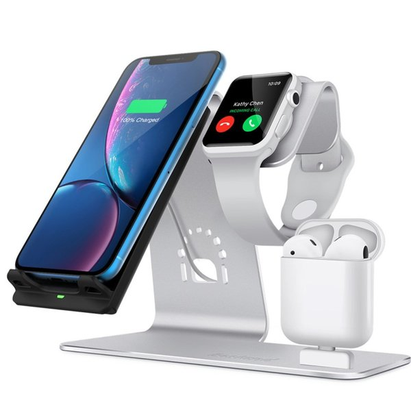 Fast wireless charger New Applicable Iphone Watch Headphones Three-in-one Aluminum Alloy Qi Wireless Charger Stand 10W Fast Charge Base