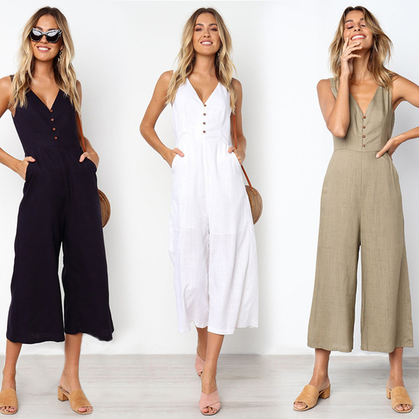 Summer Loose Cotton Button Pocket Deep V Neck Wide Leg Jumpsuits For Women 2019 Rompers Womens Jumpsuit MX190726