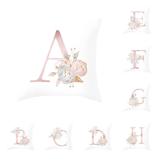 Polyester Peach Skin Pillowcase 45*45CM 26 Letters Pink Envelope Pillow Cushion Silk Satin Pillow Cover Home Hotel Supplies 1 Piece ePacket