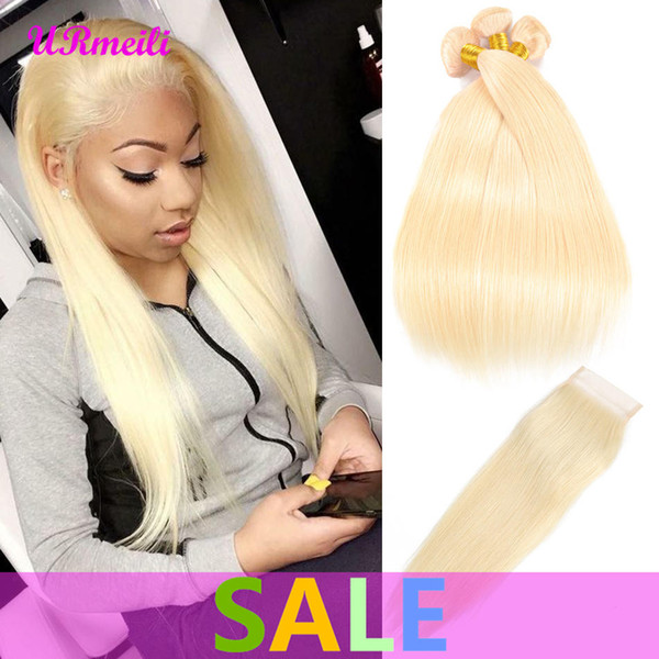 Straight Virgin Hair 613 Blonde Bundles With Closure Brazilian Hair Weave Bundles With Closure Straight Human Hair Bundles With Closure Remy