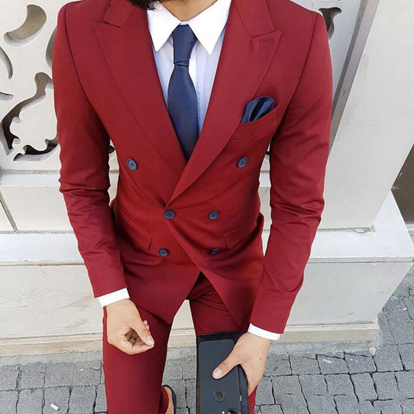 New Fashion Dark Red Mens Formal Prom Party Suit Double Breasted Peak Lapel Wedding Groom Tuxedos Men Suits Blazer(Jacket+Pants) Custom Made