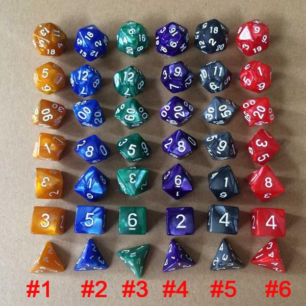 Set di dadi DD Double Color 7PCS / Set Dadi poliedrici per rotoli Gioco Dungeons and Dragons DND RPG MTG Giochi da tavolo Intrattenimento M514Y