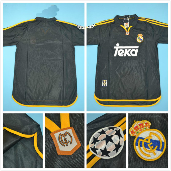 top popular Top quaity 2000 Real Madrid UCL rugby version men size jersey 7#RAUL 6#REDONDO BLACK Retro Jersey 2020