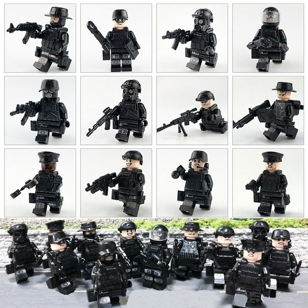 12pcs Lot Military Police Special Forces Tactics Assault Police COD SWAT Figure with Weapons Building Block Construction Toy for Children
