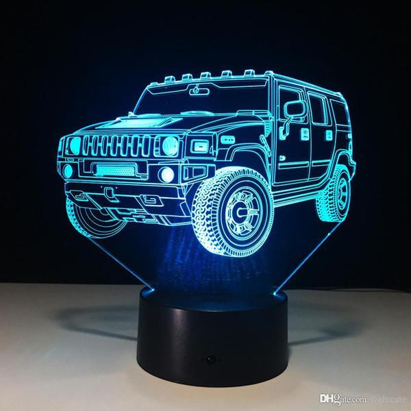 Enfriar mesa LED de color SUV Noche de coches en 3D Luz 7 interruptor de la lámpara de la lámpara táctil USB Nueva niños durmiendo luz para regalo de los amigos de Navidad