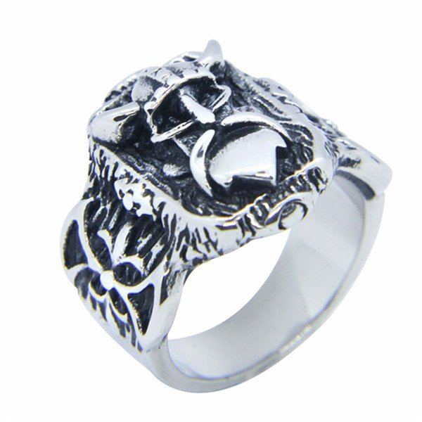 1pc size 7-15 New Silver Golden Vikings Ring 316L Stainless Steel Jewelry Personal Design Cool Men Boys Vikings Ring