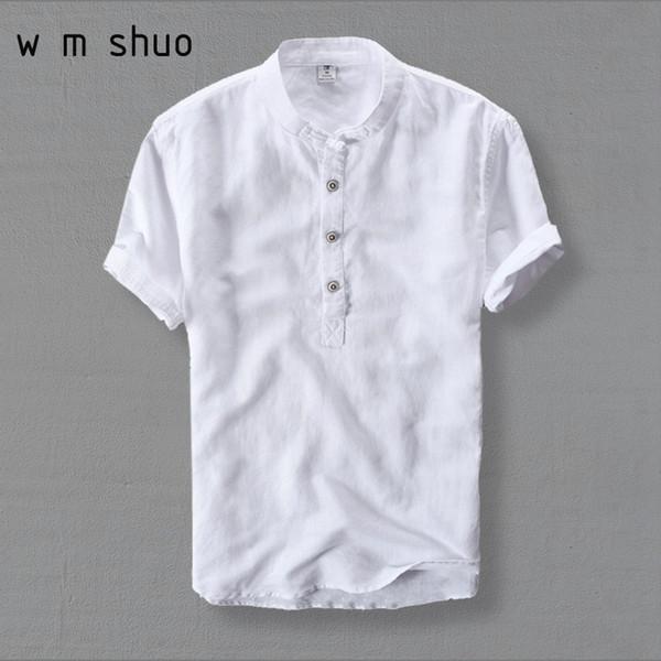 Wmshuo Mens Moda Verão de Manga Curta Linho Fino Cor Branca Camisas Casuais Plus Size 4xl Tops Y001 Q190517