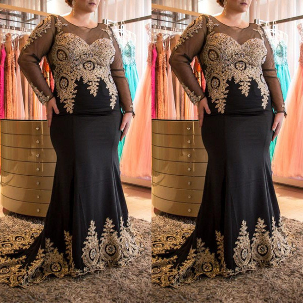 Fat Women Beautiful Prom Dresses Plus Size Black Sheer Neckline Gold Lace Appliques Mermaid Evening Dresses Elegant Long Sleeves Formal 2019