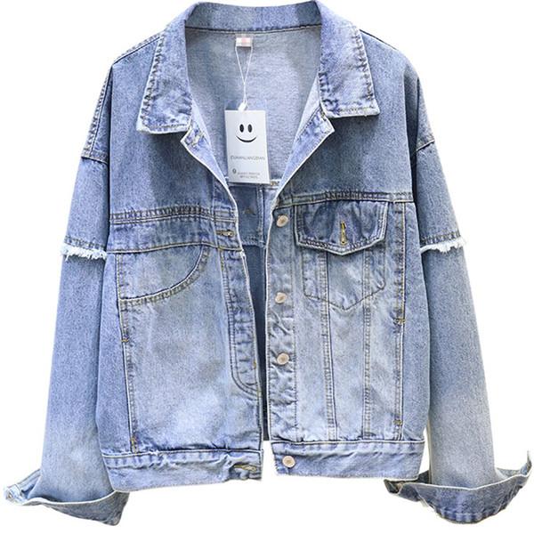 Streetwear Demin Chaqueta Mujer Jeans empalmados Chaqueta de manga larga Escudo básico Ripped algodón ocasional grande para mujeres Prendas de abrigo