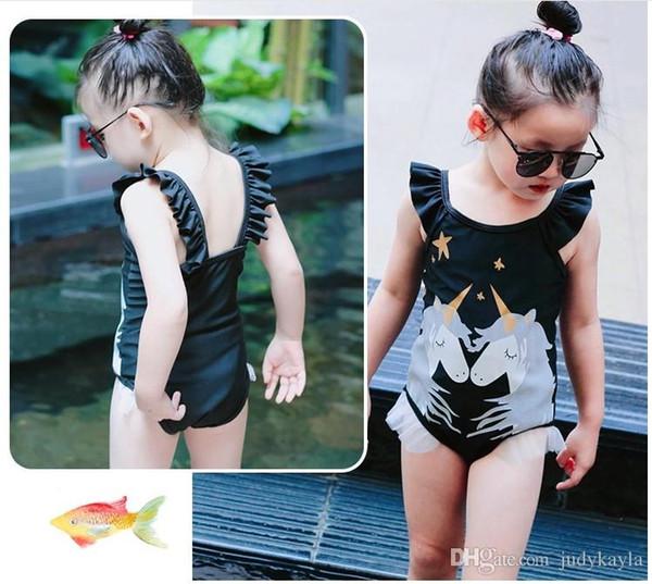 Maillot de bain bébé fille noir Licorne maillot de bain une pièce princesse maillot de bain bikini bodywear avec des volants 10pcs / lot