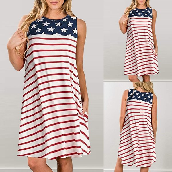 Summer Bohemian Dress 2019 Womens Casual Pockets Patriotic Stripes Star American Flag Print Tank Dress vestidos robe femme @4