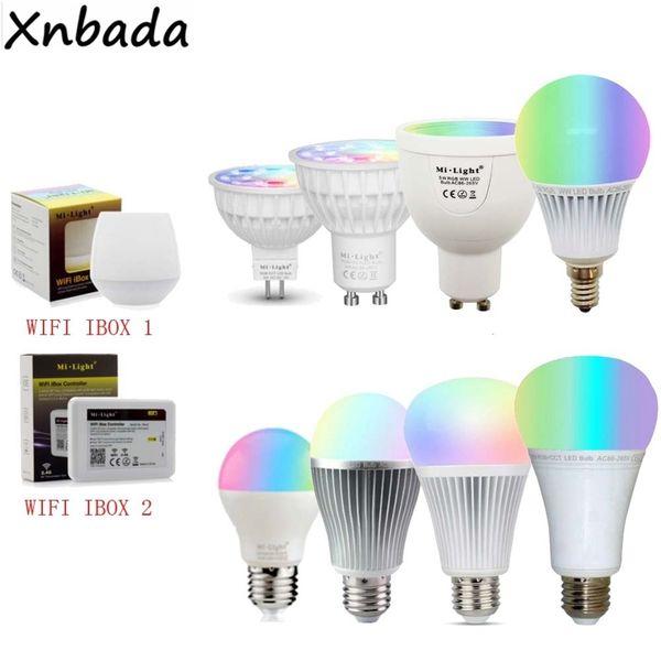 Mi Light Dimmable Mr16 Gu10 E14 E27 4w 5w 6w 9w 12w Bulb Spotlight,2.4g Rf Cct/rgbw/rgbww/rgb+cct Led Lamp Q190601