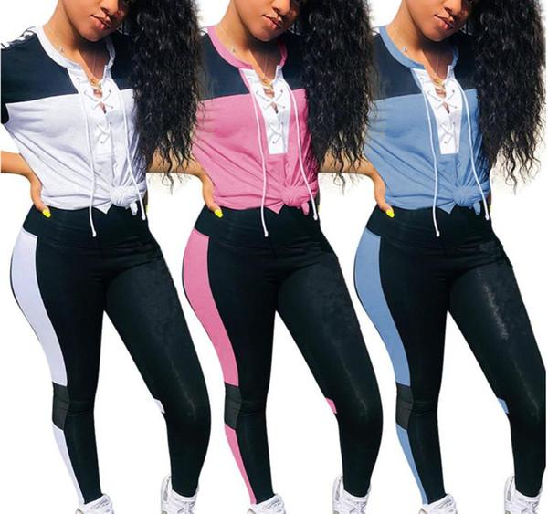 Brand Designer Women Jogging Suit Short Sleeve Two Piece Set Tracksuit T-shirt Leggings Outfits Sportswear Sports Pullover Crop Top Suit00