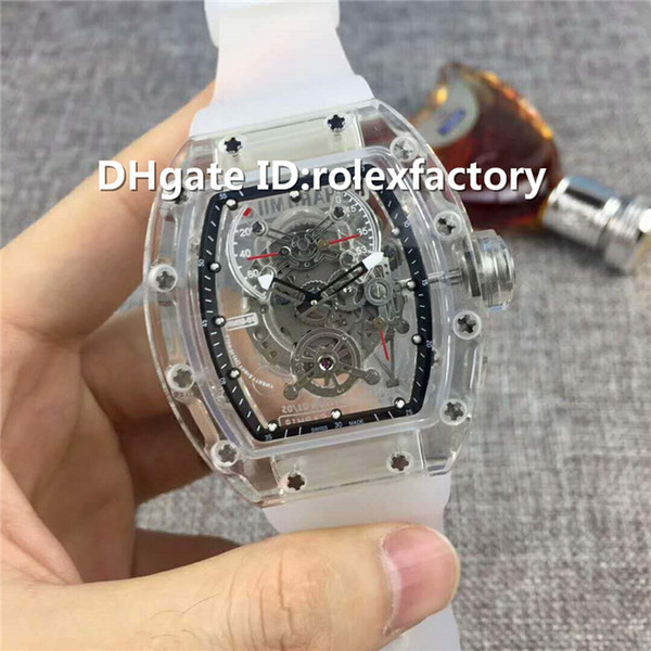 New Luxury 56-01 Watch Automatic Q3.28800 Sapphire Crystal transparent Case Skeleton Dial Rubber Strap transparent case back Mens Watch