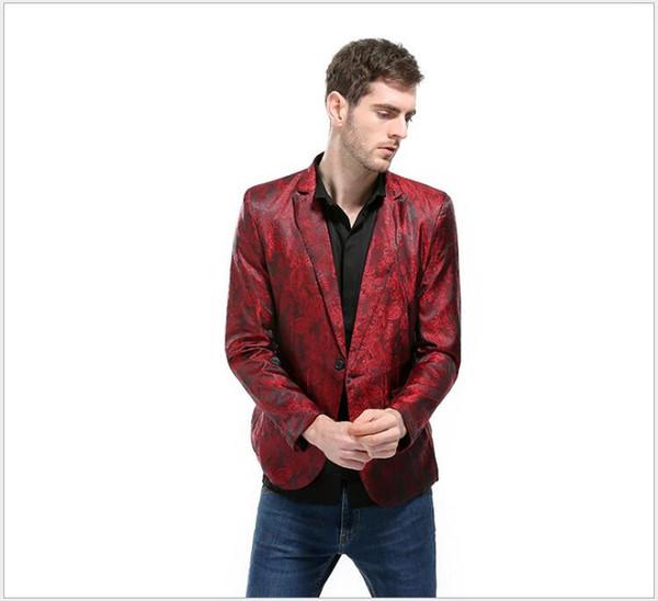 Blazer di abiti stampati da uomo di colore brillante Risvolto con risvolto di un bottone Primavera Qutumn Nuovo design Abiti casual da uomo Casual Abiti formali Giacche
