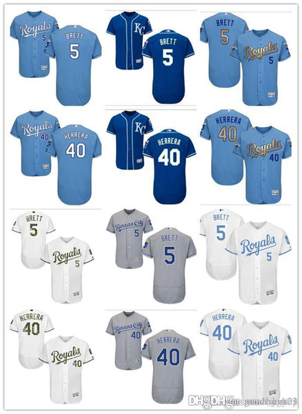 Personalizado homens mulheres jovens KC Royals Jersey # 5 George Brett 40 Kelvin Herrera Casa Azul Branco Cinza Jerseys de Beisebol