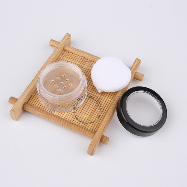 Make Up Tools High Quality 5g Empty Plastic Loose Powder jars With Sifter + Puff, Clear Small Cosmetic Jar Packaging 50pcs