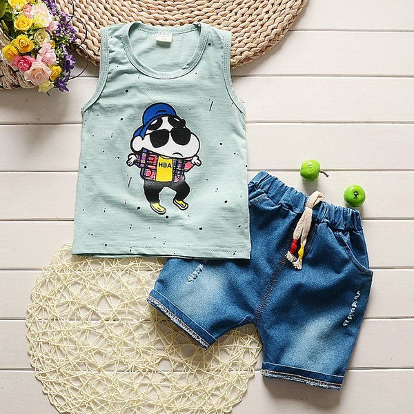 good quality 2019 summer baby boy clothing sets cartoon vest+denim shorts toddler boys sport outfits cotton infant suit baby clothes