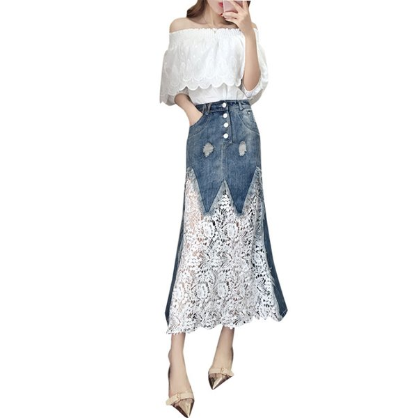 dernière conception 2019 nouveaux vêtements pour femmes coréen col oblique de la robe d'épaule chic jupe deux pièces jupe en jean ensemble deux pièces robe