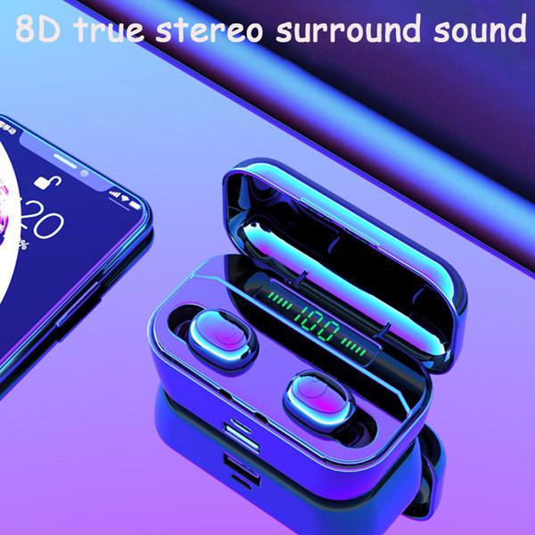 Fones de ouvido sem fio fones de ouvido Tws Bluetooth fones de Ouvido Duplo Orelha In-ear Display LED Com o armazém Carregado Pode Carregar Telefone 2 PCS entrega