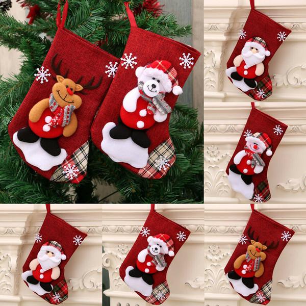2019 New Brand Christmas Stocking Mini Sock Santa Claus Candy Gift Bag Xmas Tree Hanging Decor Christmas Socks
