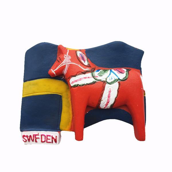 Lychee Dala Cavallo Magneti per il frigo Svezia Punti di riferimento Frigorifero Adesivo magnetico Decorazione per la casa Souvenir di viaggio