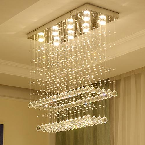 Modern Chandelier Crystal Lamps Ceiling Lights Round Luxury Led