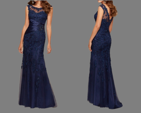 Navy Blue Lace Mermaid Elegant Mother Of Bride Dresses Scoop Neck Backless Appliques Lace Beads Mother Party Dresses